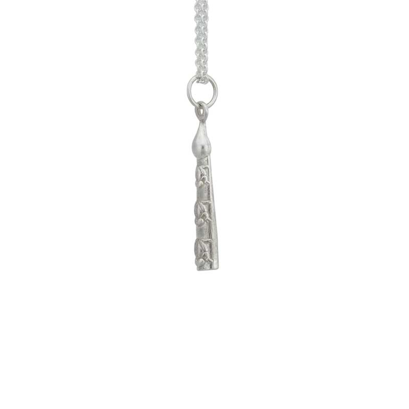 Volcano Woman's Tears Necklet, Sterling Silver : The tears of the Volcano Woman are portrayed as small frogs on a weathered cedar log.
