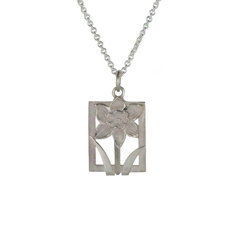 "Daffodile Tile Necklet, Sterling Silver, 18"" Sterling Silver Chain"