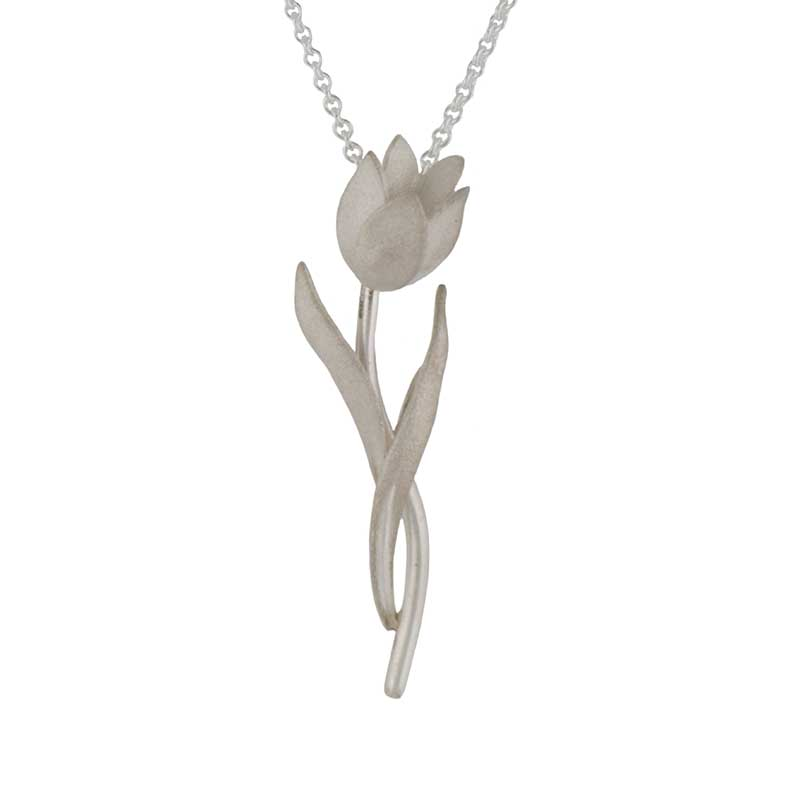 """Pink Diamond Tulip Necklet, Sterling Silver, 18"""" Sterling Chain"""