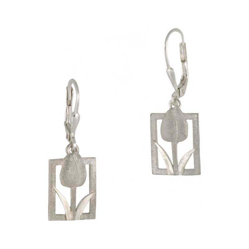 Tulip Tile Earrings, Sterling Silver