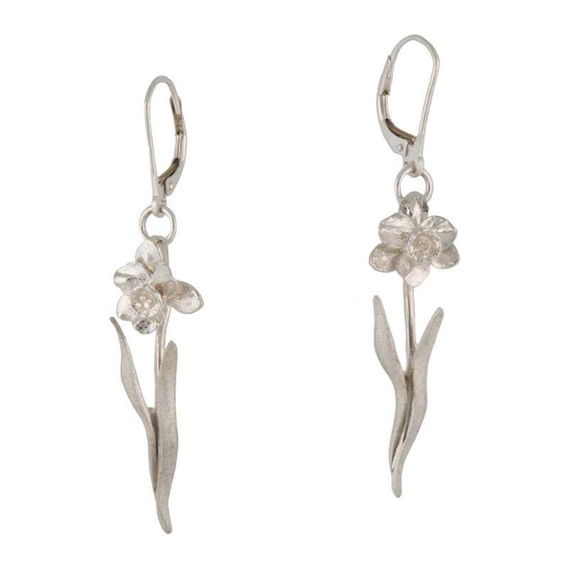 Tenby Daffodil Earrings, Sterling Silver