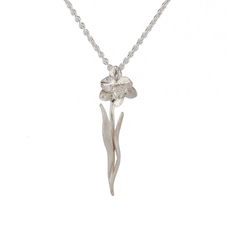 Tenby Daffodil Necklet, Sterling Silver with 18 inch Sterling Silver Chain