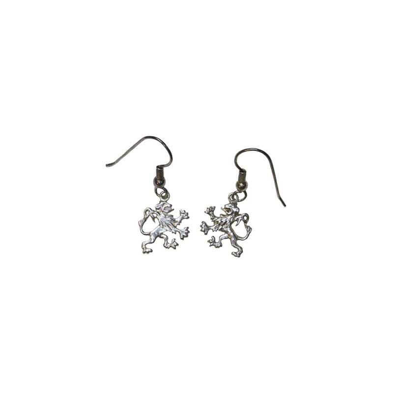 Rampant Lion Earrings, Sterling Silver