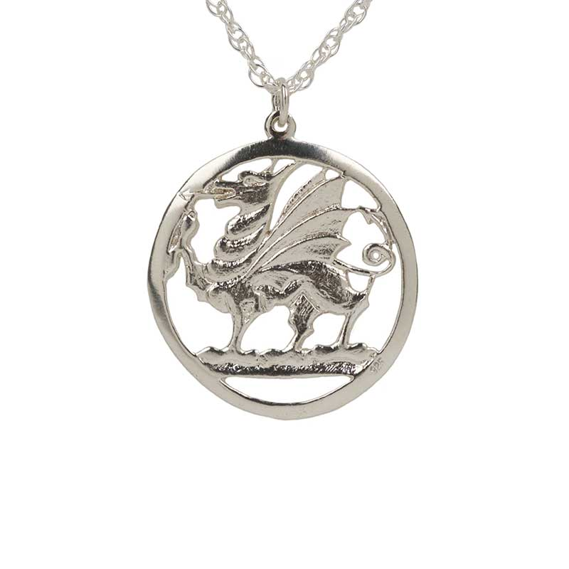 """Welsh Dragon Pendant, Sterling Silver, with 24"""" Sterling Silver Chain"""