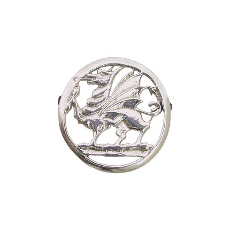 Welsh Dragon Pin, Sterling Silver