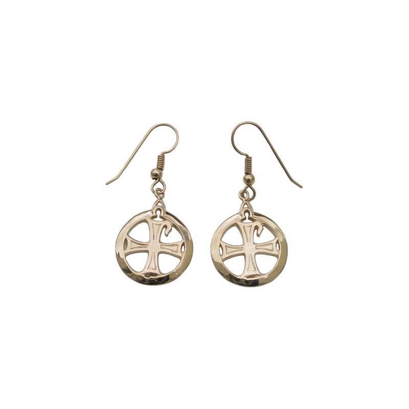 Chi-Rho Earrings, 14 kt. Gold