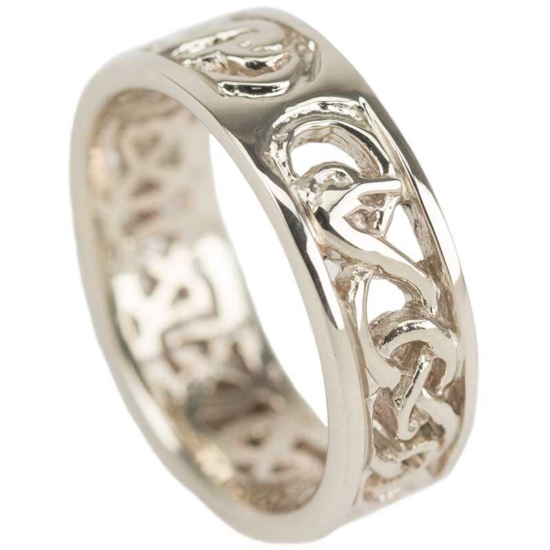 Celtic Wedding Ring, White Gold