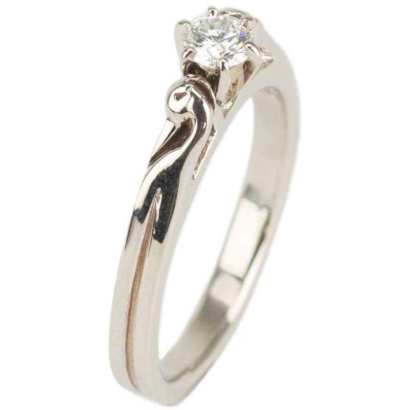 Celtic Engagement Ring, White Gold