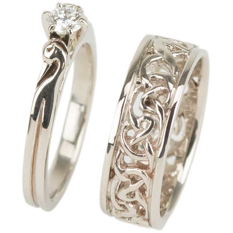 Celtic Wedding and Engagement Rings, White Gold