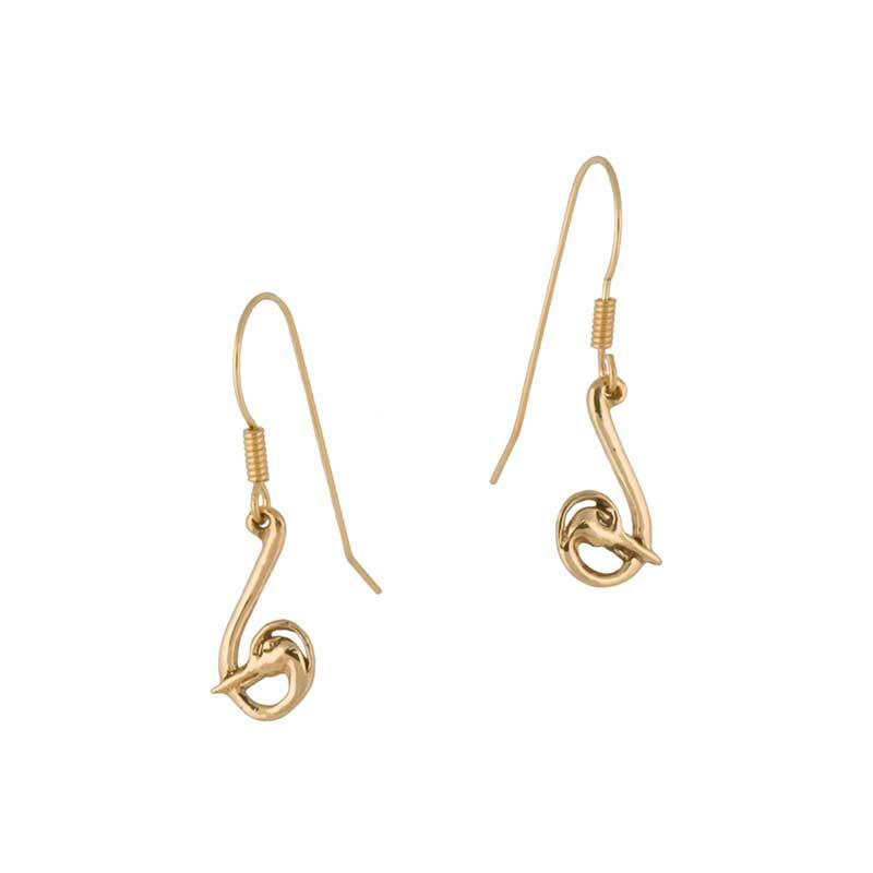 Heron Earrings, 14 kt. Gold