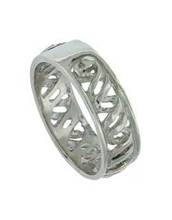 Double Helix Wedding Band, Silver