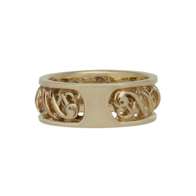 Double Helix Wedding Band, shown with the Celtic Engagement Ring