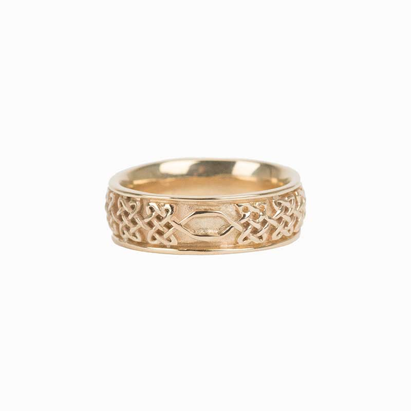 Never Ending Hearts Ring, 14 kt. Yellow Gold.  The endless knot flattens along a small segment at the back  for any future size changes.