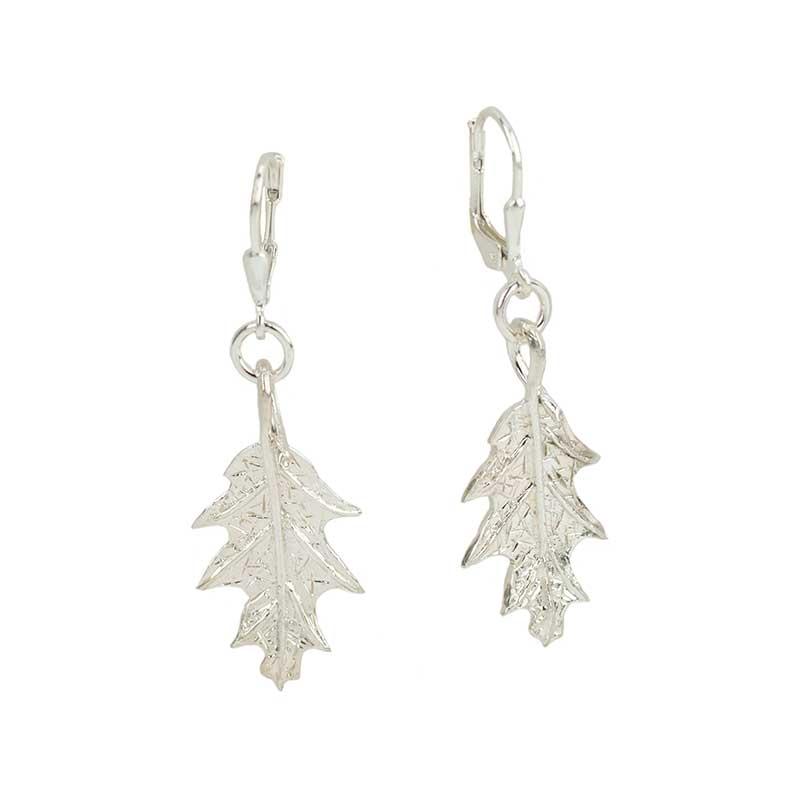 Oak Leaf Earrings, Sterling silver