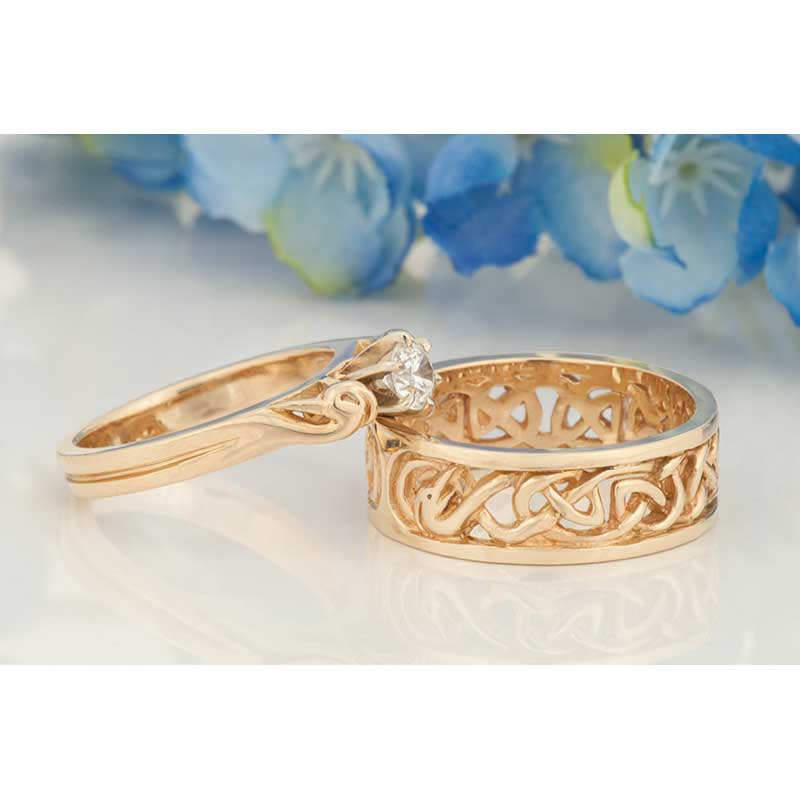Celtic Wedding Ring, shown with our matching #3334g Celtic Engagement Ring
