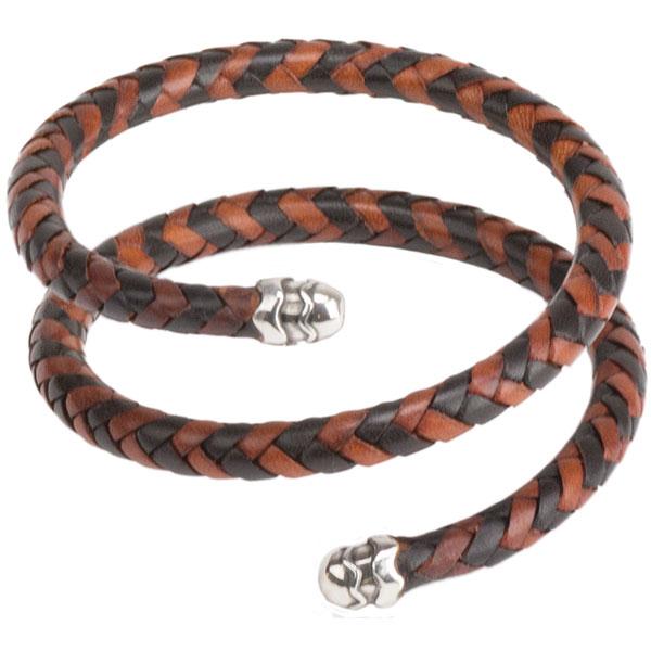 Leather Spiral Cuff Bracelet, Multi-Brown