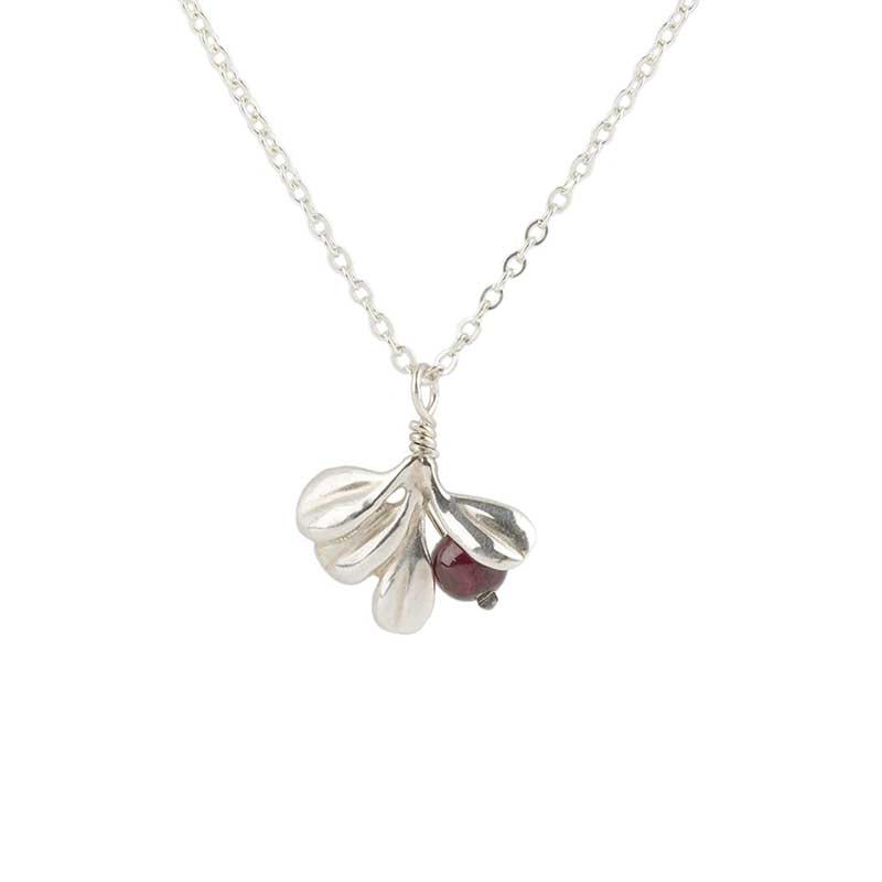 Lowbush Cranberry Pendant, Sterling Silver and Garnet