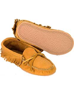 Low Bison Leather Moccasin with Sole