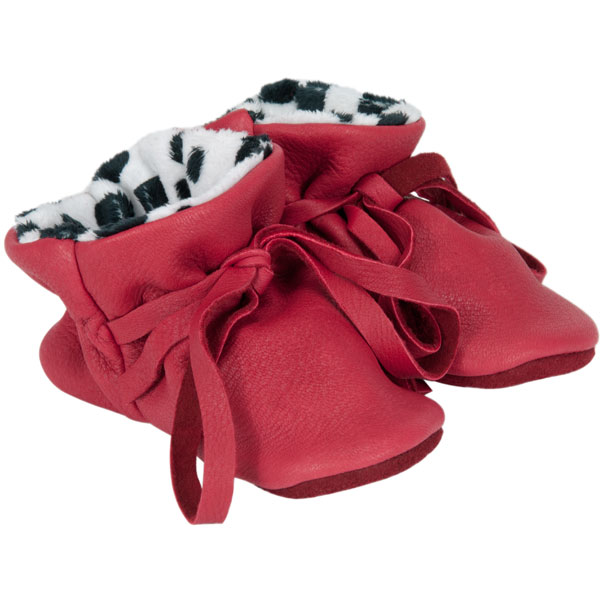Baby Moccasins, Red Deerskin with Dalmation Print Lining