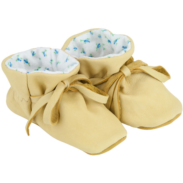 Baby Moccasins, Natural Deerskin with Blue Print Lining