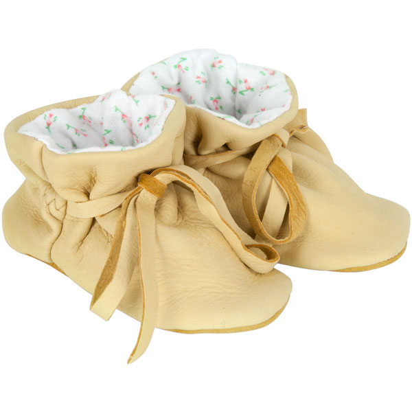 Baby Moccasins, Natural Deerskin with Pink Print Lining