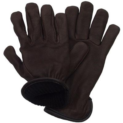 Deerskin Wool Lined Glove, Brown