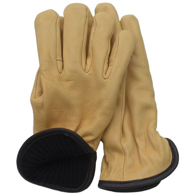 Deerskin Wool Lined Glove, Gold