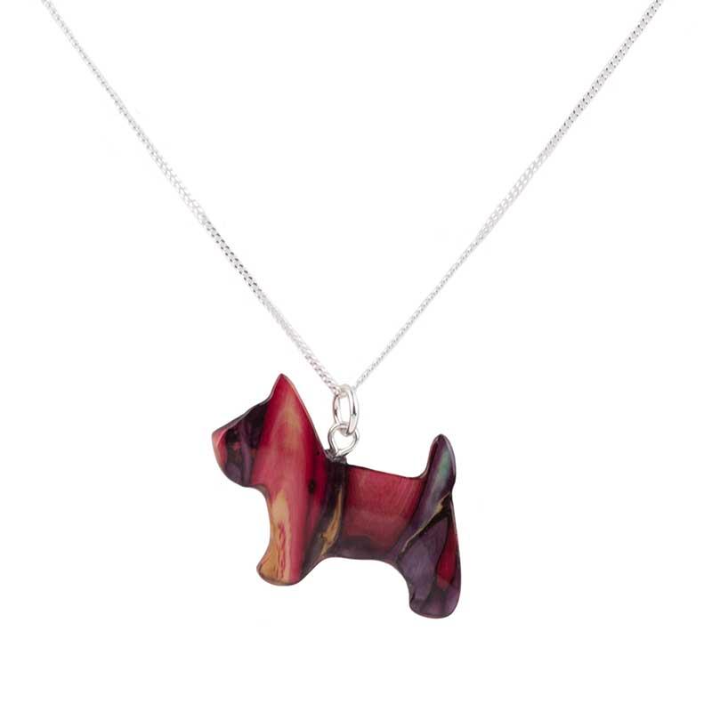 Scottish Terrier Pendant, Heathergem and Sterling Silver