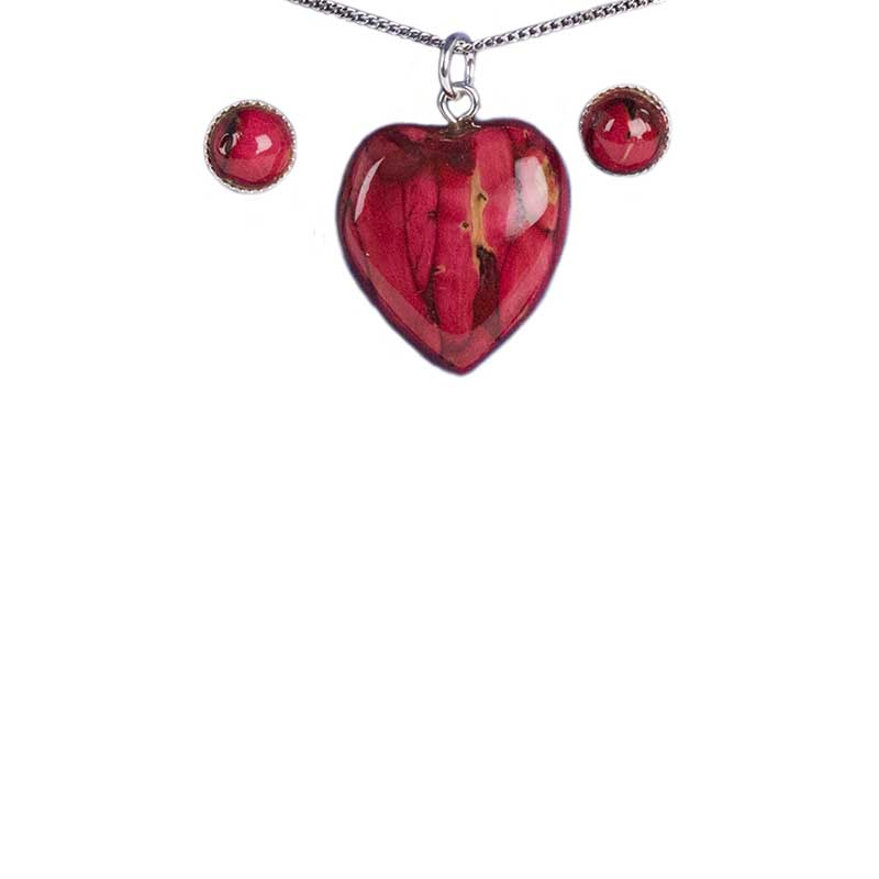 Heathergem Heart Pendant/Earring Set