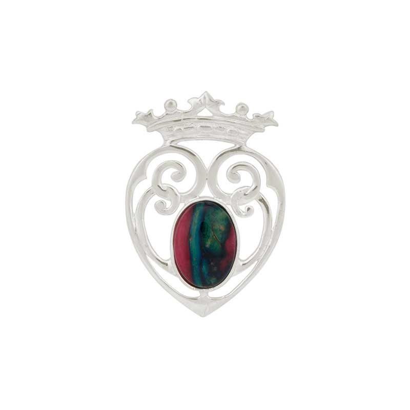 Luckenbooth Brooch, Sterling silver with Heathergem