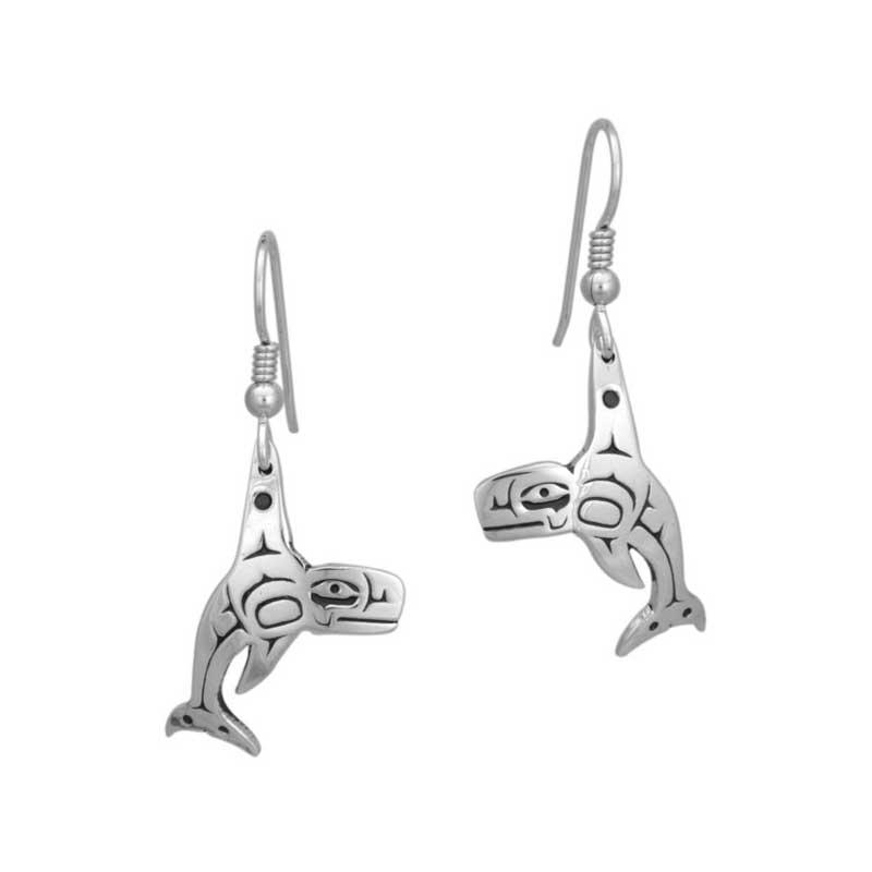Tsimshian Orca Earrings, Sterling Silver, Fishhook