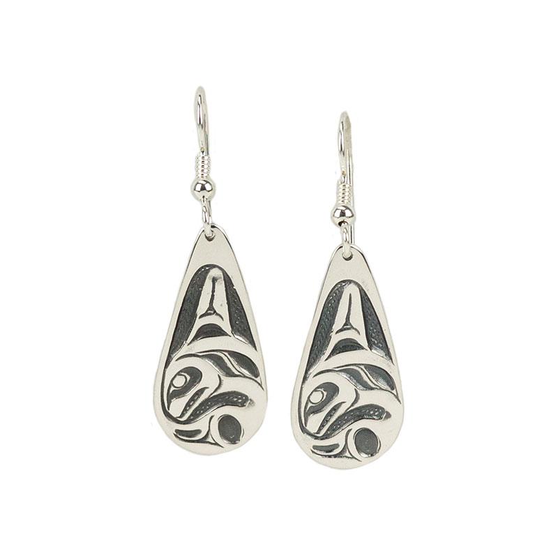 Orca Earrings, Sterling Silver