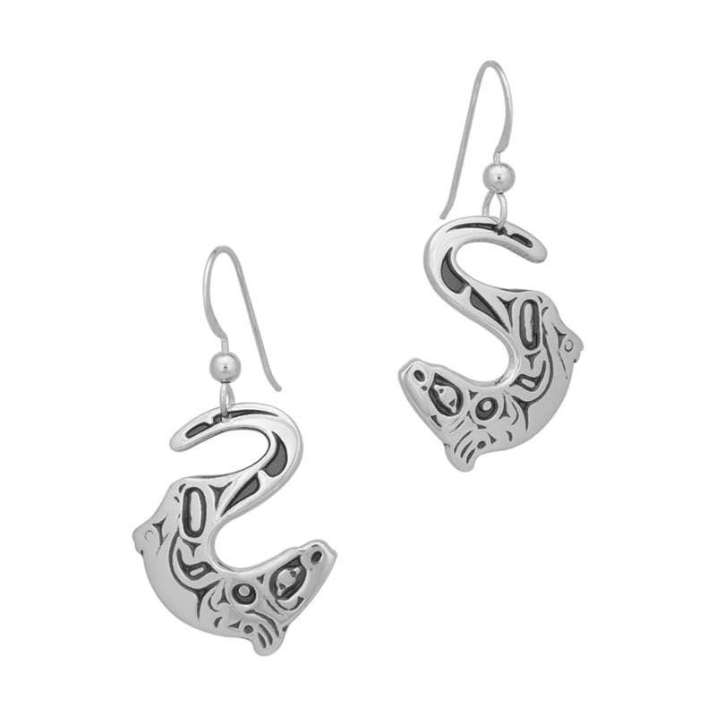 River Otter Earrings, Sterling silver, by Odin Lonning