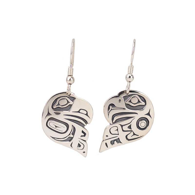 Lovebird Earrings, Sterling Silver