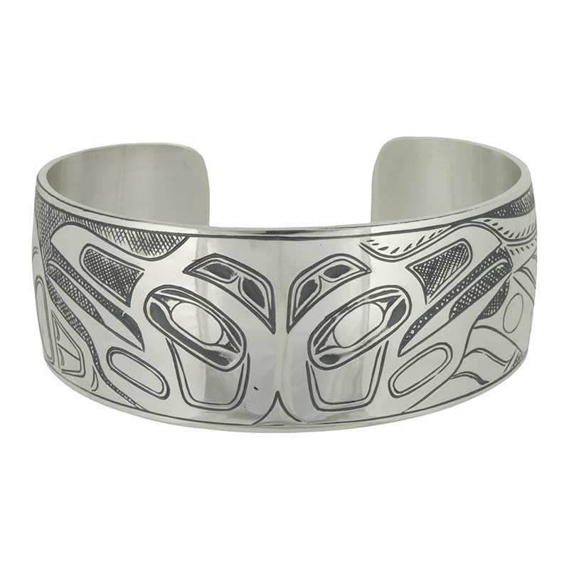 Raven/Killer Whale Bracelet by Amos Wallace, Sterling Silver
