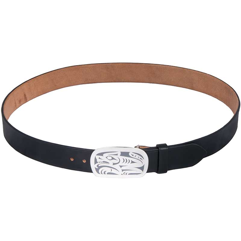 Wolf Buckle, Sterling Silver, shown on our No. 803 Bridle Leather Belt