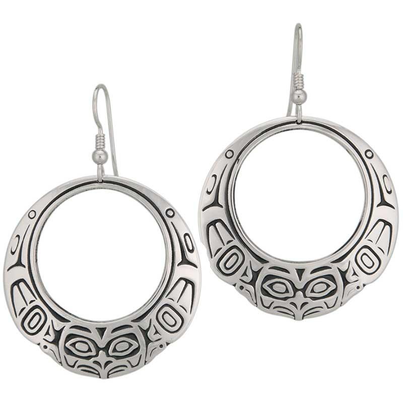 Eagle Hoop Earrings, Sterling Silver
