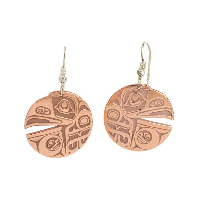 Raven & the Box of Daylight Earrings, Copper