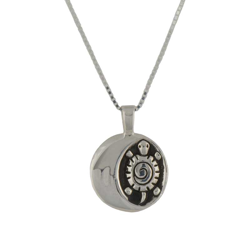 September Moon Pendant, Front. Sterling silver, 20 inch sterling chain