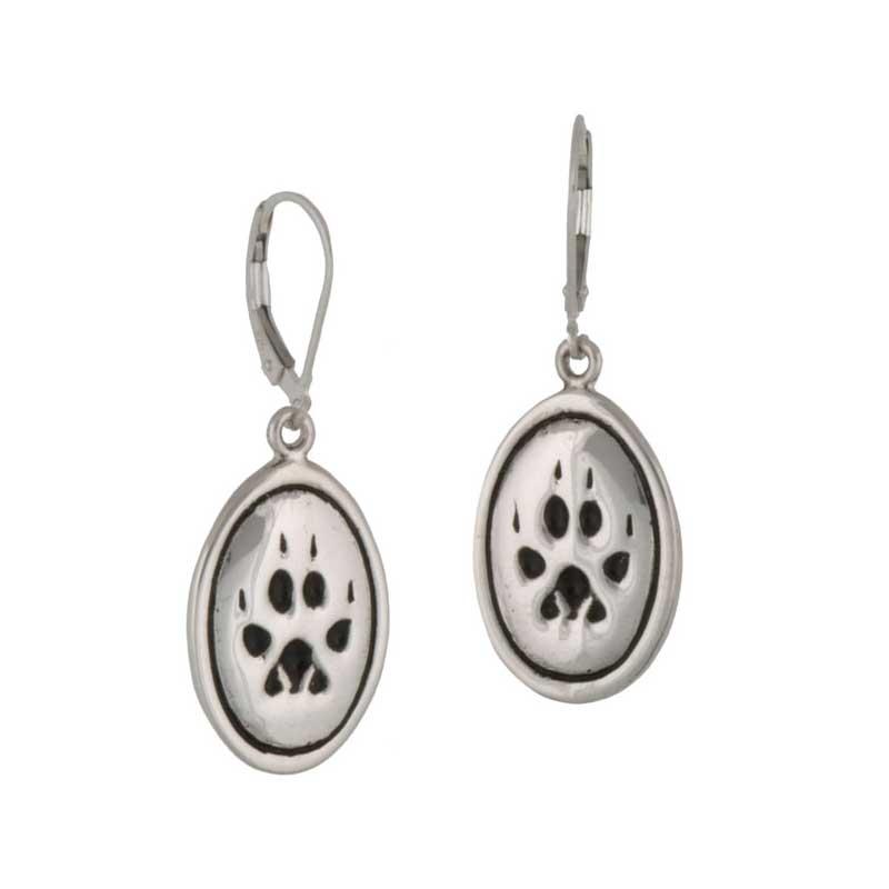 Wolf Paw Print Earrings, Sterling silver