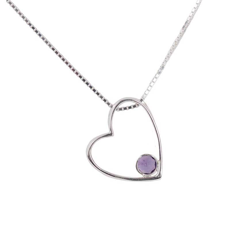 Gemdrop Heart Necklace, Amethyst Stone