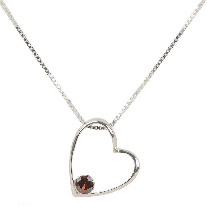 Gemdrop Heart Necklace, Garnet Stone
