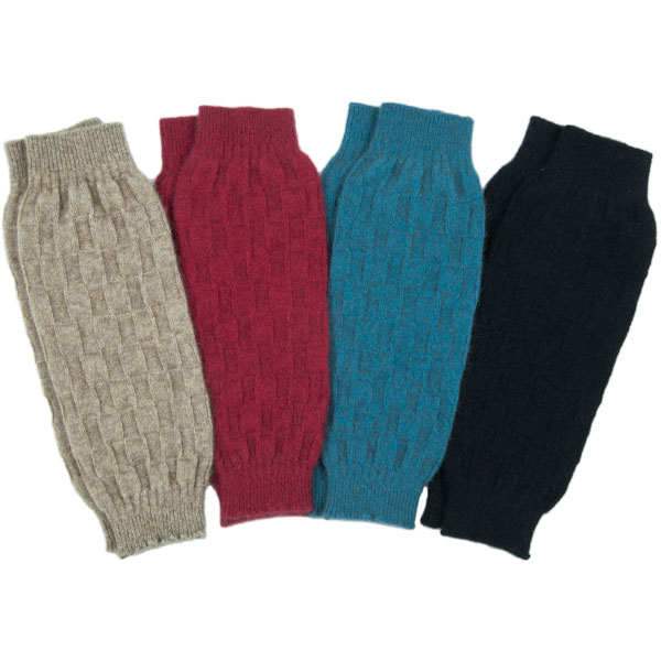 The Possum Leg Warmers are available in Teal, Natural, Red and Black