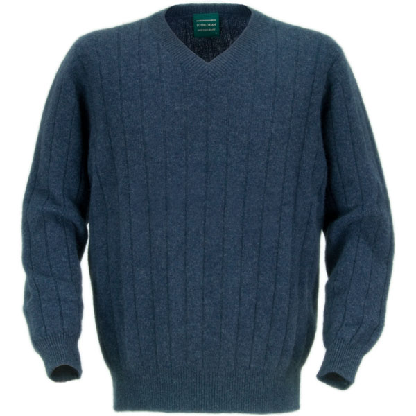 Men's V-Neck Possum Sweater,  Denim