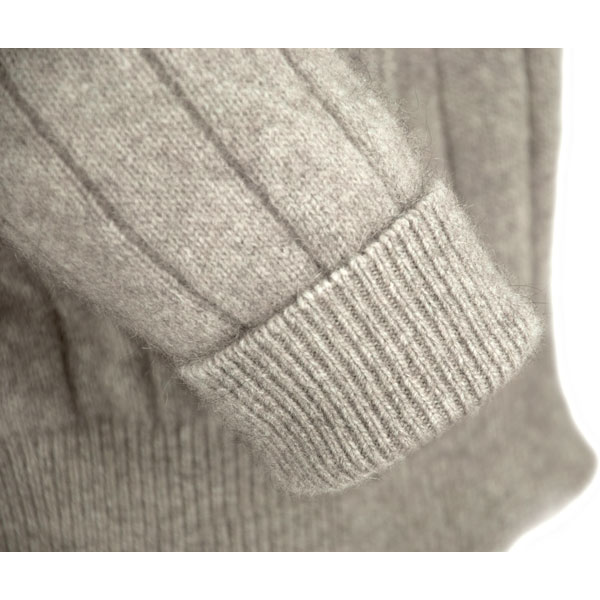 The sleeve cuffs are ribbed, and can be worn turned up if you prefer shorter sleeves or have short arms.