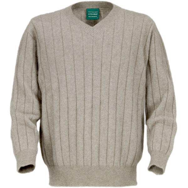 Men's V-Neck Possum Sweater, Natural