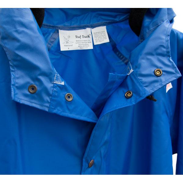 The Ruf Duck Rain Jacket has a snap closure double storm flap.