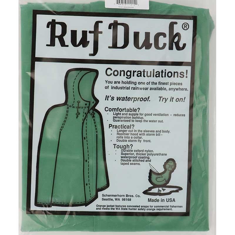 Ruf Duck Hooded Rain Jacket, Green