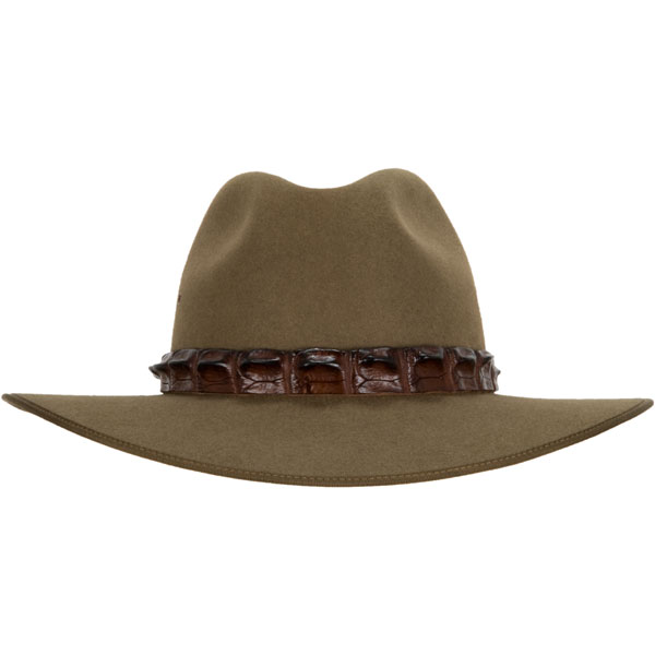 Crocodile Hat Band, shown on the #1616 Coober Pedy Hat by Akubra