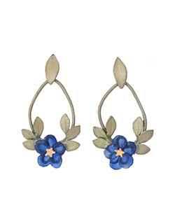 Blue Violet Hoop Earrings, Post